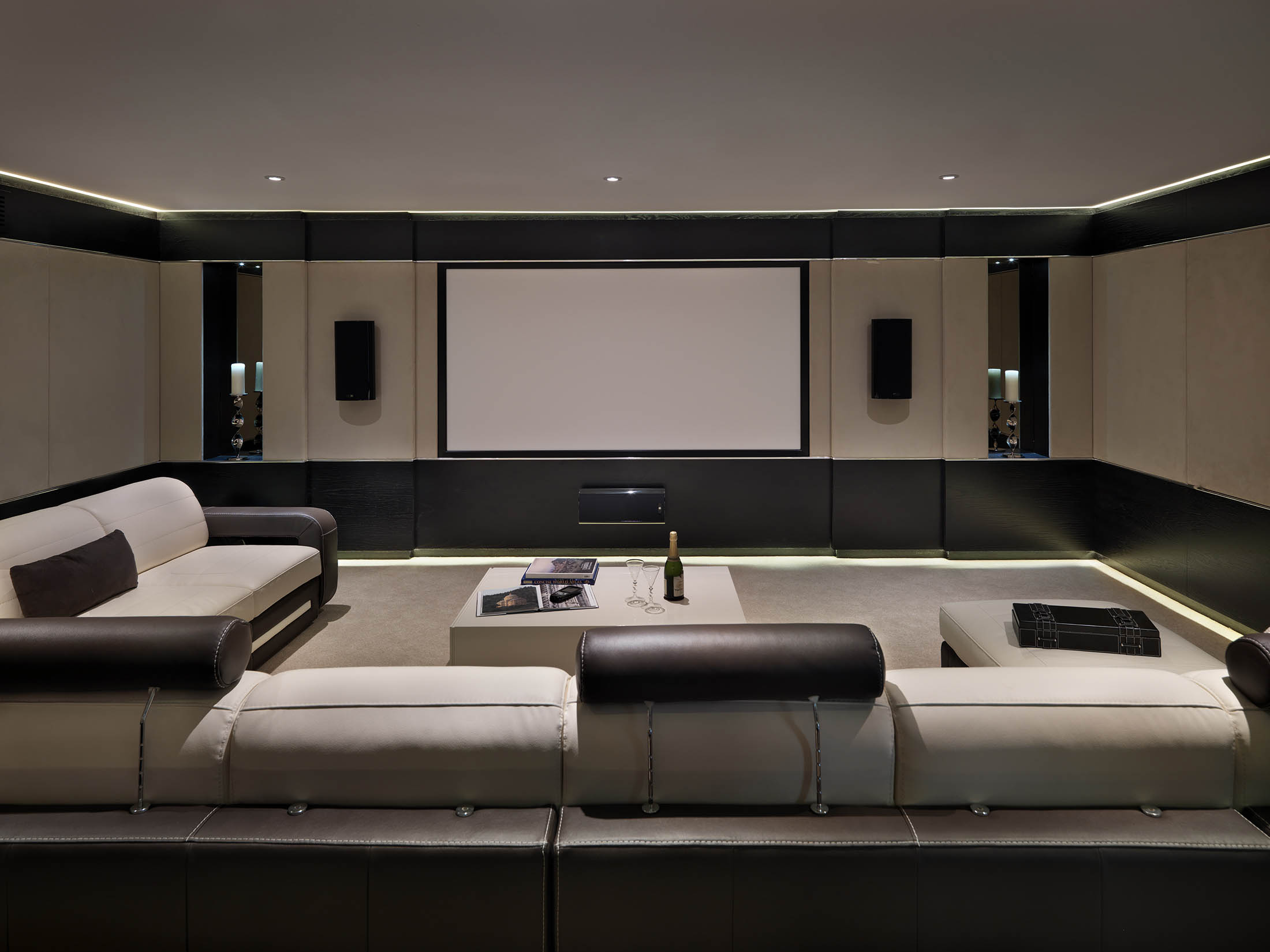 design for cinema room and bar st georges hill surrey